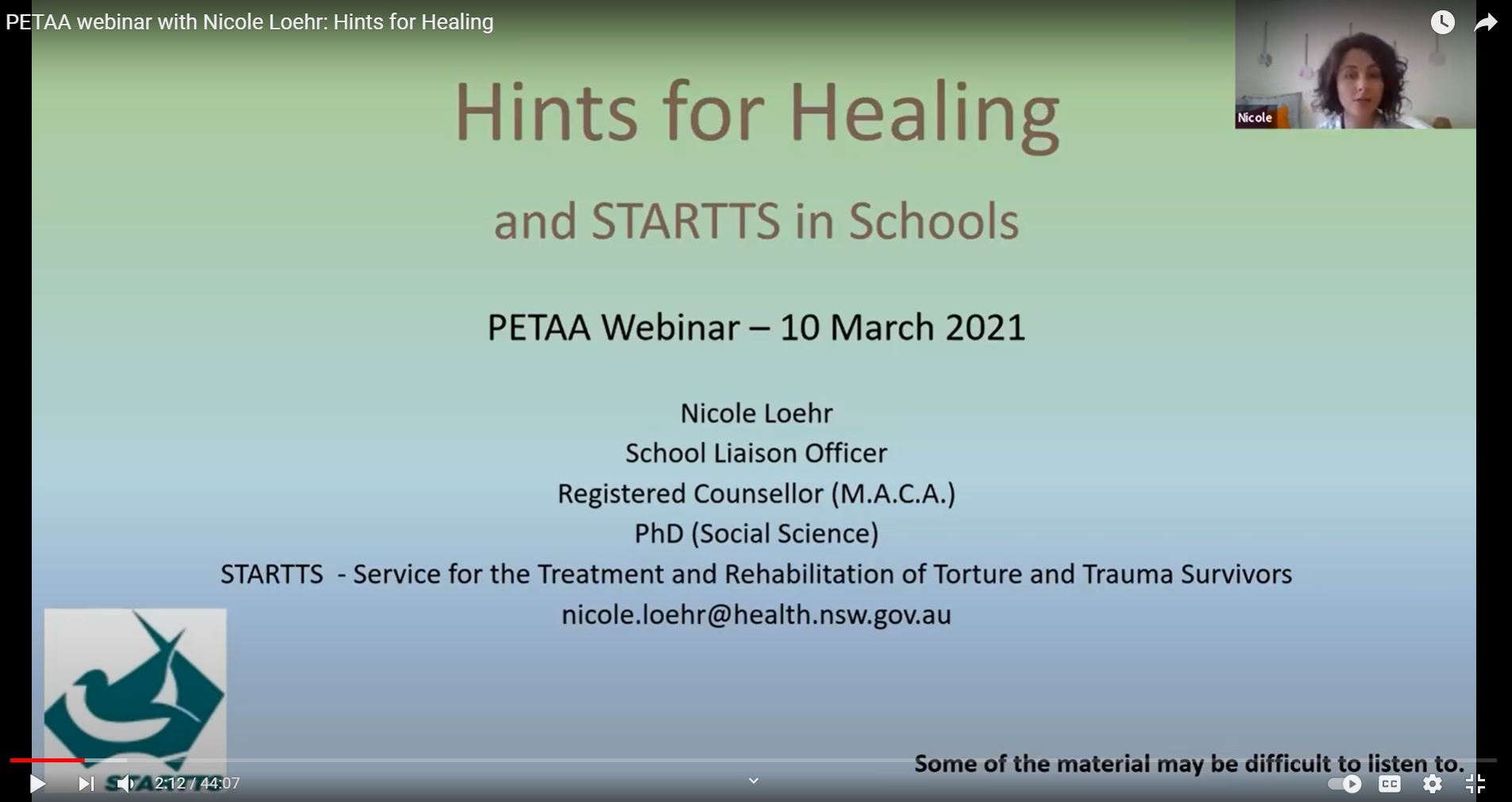 Hints For Healing And STARTTS In Schools Webinar For PETAA (Primary English Teaching Association Australia)